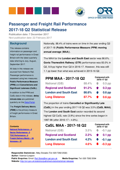Passenger and freight rail performance 2017-18 Q2