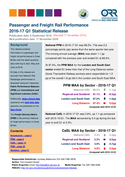 Passenger and freight rail performance 2016-17 Q1